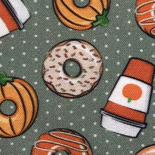 Coffee and autumn donuts fabric