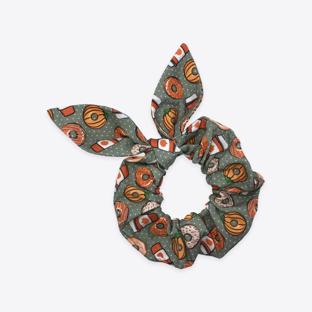 Coffee and autumn donuts scrunchie